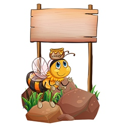 A bee above the rock near the empty signage vector image vector image