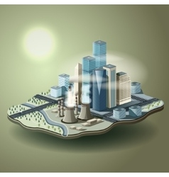 Air pollution in big city isometric vector