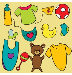 Baby items vector