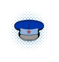 Blue military hat with star comics icon vector