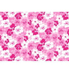 Bright pink and white flowers repeat pattern vector