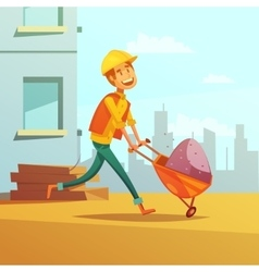 Builder and building cartoon vector