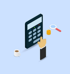 businessman makes calculations on a calculator vector image