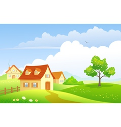 Cartoon village vector image vector image