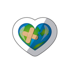 Color earth planet heart with band aid icon vector