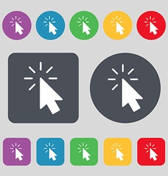 Cursor icon sign a set of 12 colored buttons flat vector