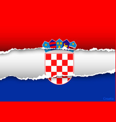 Design flag croatia from torn papers with shadows vector