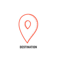 destination with hand drawn map pin vector image