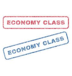 Economy class textile stamps vector