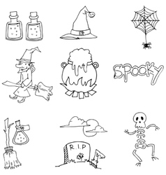 Element halloween flat doodle vector