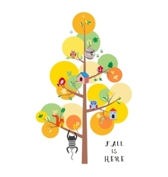 Fall is here autumn tree flat vector image