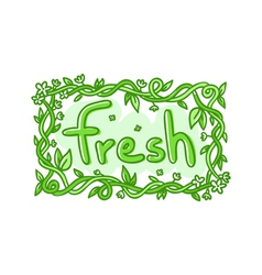 Fresh doodle decorative label vector image