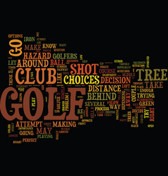 Golf tips around trees on the golf course text vector