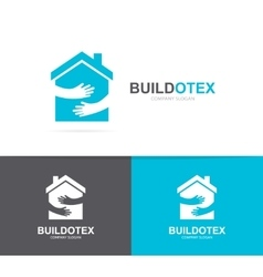 House and hands logo combination real vector
