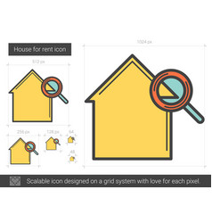 House for rent line icon vector