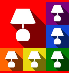 Lamp sign set of icons with vector