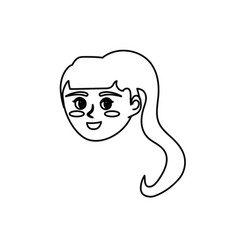 Line avatar happy woman face with hairstyle design vector