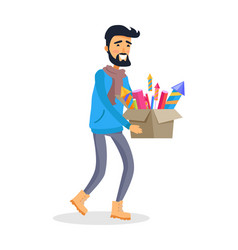 man in sportswear carries carton box of fireworks vector image