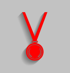 Medal simple sign red icon with soft vector