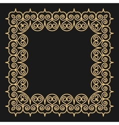 Outline style gold background square ornamental vector