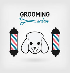 pet grooming salon logo design vector image vector image