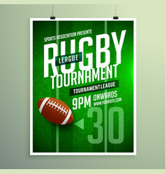 Rugby league game flyer design invitation template vector