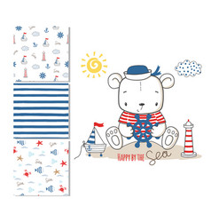 sailor bear surface design and 3 seamless patterns vector image