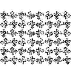 Seamless background with black butterflies vector image