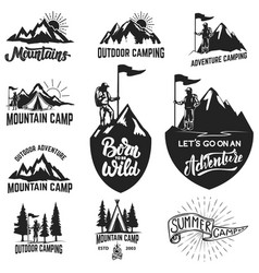 Set of mountain camping outdoor adventure vector