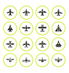 set round icons of planes vector image vector image