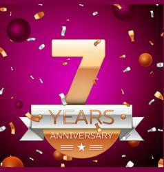Seven years anniversary celebration design vector