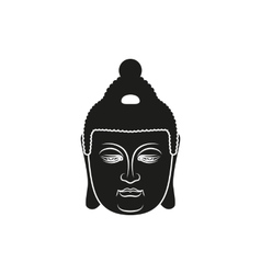 Simple black buddha face style vector image