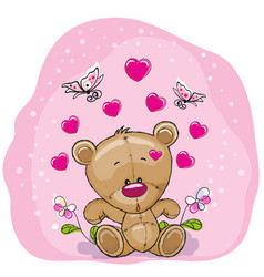 teddy bear with flowers vector image