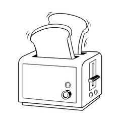 toaster with toast pop art vector image vector image
