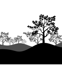 Tree sakura silhouette with landscape vector