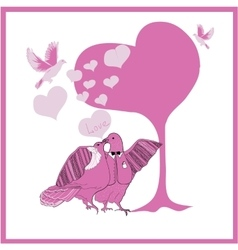 Wedding card couple fantastic doves vector