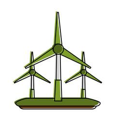 wind turbines eco friendly icon image vector image