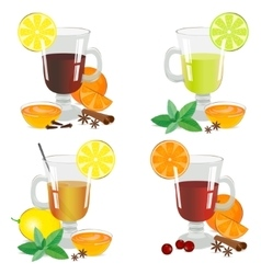Set of isolated hot drinks vector