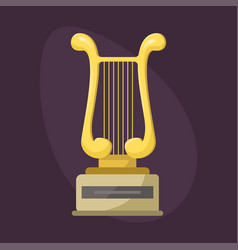Gold rock star trophy music harp best vector