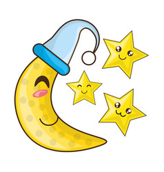 Adorable moon with sleep hat and cute stars vector