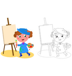 Young cartoon painter coloring vector