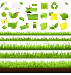 Big Nature Set With Grass Border vector image