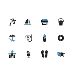 Beach duotone icons on white background vector