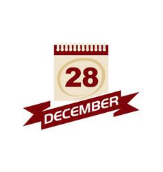 28 december calendar with ribbon vector
