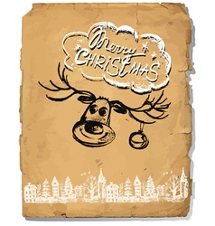 Hand drawn congratulation christmas greeting card vector