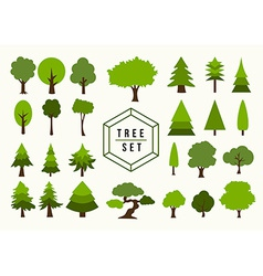 Eco icon tree shapes set vector