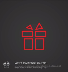 Gift outline symbol red on dark background logo vector