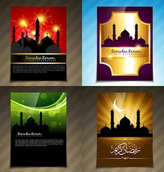 Attractive set of brochure of ramadan kareem vector
