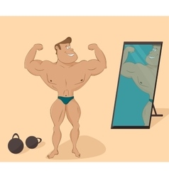 Flat muscular sports man in the mirror cartoon vector