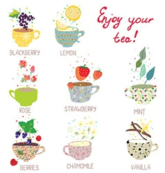 Cups with tea set - berries lemon mint vanilla vector